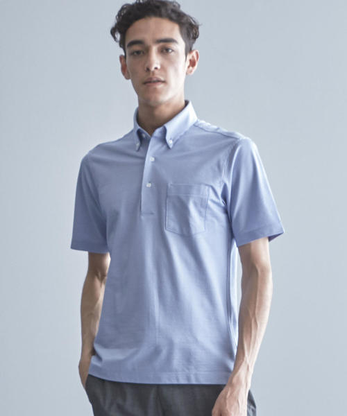 【WORK TRIP OUTFITS】ドライ サッカー ボタンダウン ポロシャツ《吸水速乾》