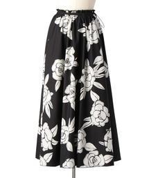 Drawer ブラックフラワーギャザースカート