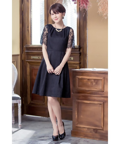透け感レースの上品ドレス/結婚式・お呼ばれワンピース パーティードレス