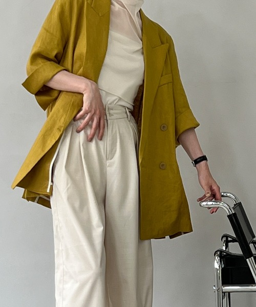【chuclla】Linen set up half-sleeve jacket chws21s01