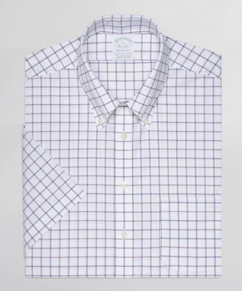 ノンアイロン ストレッチコットン ダブルグリッド ショートスリーブドレスシャツ New Milano Fit