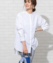 【新色登場】ブロードバンドカラーロングシャツ(バンドカラーシャツ)#