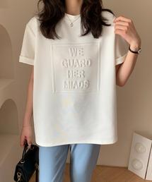 ABITOKYO(アビトーキョー)のルーズミドル発泡ロゴ入りクルーネックTシャツ/カットソー(Tシャツ/カットソー)