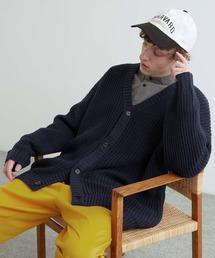 5G畦編みボリュームニット ルーズカーディガン 2021-2022WINTER(EMMA CLOTHES)ダークブルー