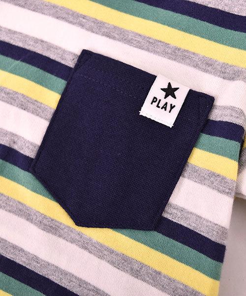 SLAP SLIP/天竺マルチボーダーポケットTシャツ