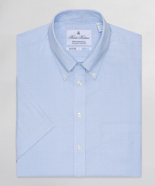 パフォーマンス ノンアイロン ストレッチツイル カラードグレンプラッド ショートスリーブドレスシャツ New Milano Fit