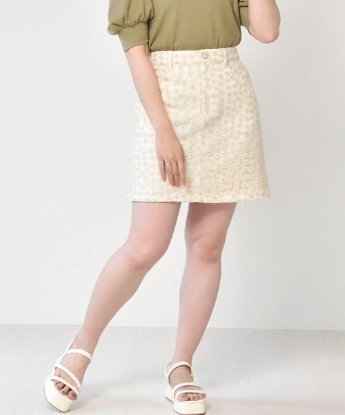 花刺繍ミニスカート