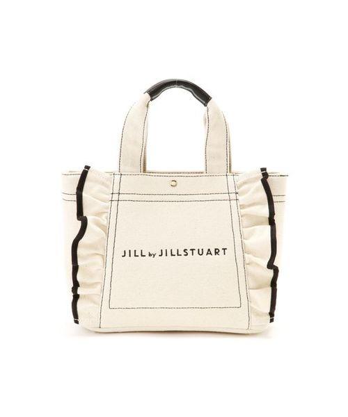 JILL by JILLSTUART(ジルバイジルスチュアート)の「◇フリルキャンバストートバッグ(トートバッグ)」|ホワイト