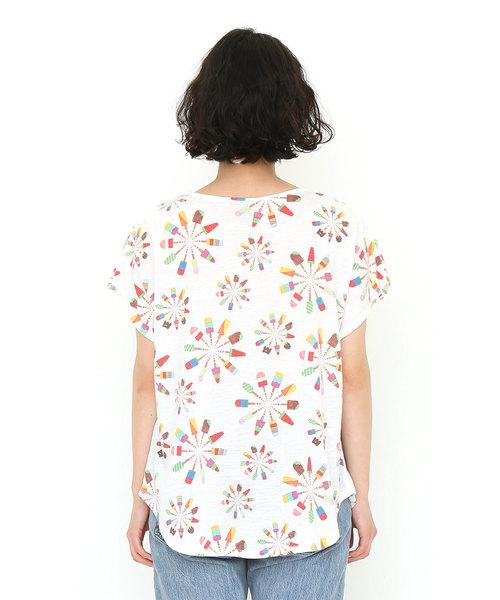 カラフルラウンドネックボックスTシャツ/カラフルアイスローリー