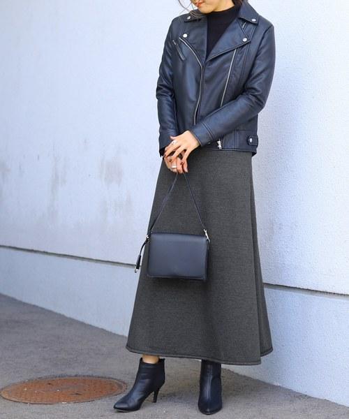 reca(レカ)の「しっかり暖か 裏起毛スウェットフレアスカート(スカート)」|ダークグレー