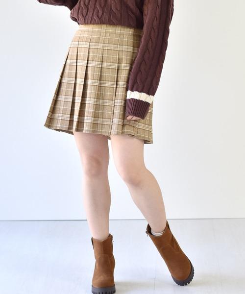 起毛ミニプリーツスカート