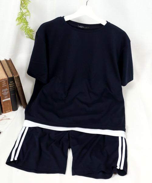 Salong hameu(サロン ハミュー)の「上下2点/セットアップ/半袖Tシャツ&イージーパンツ(ルームウェア/パジャマ)」 ブルー系その他