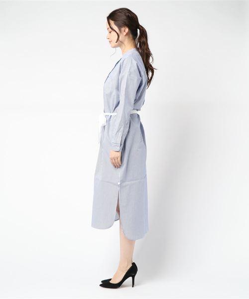 ストライプロングシャツドレス 150063