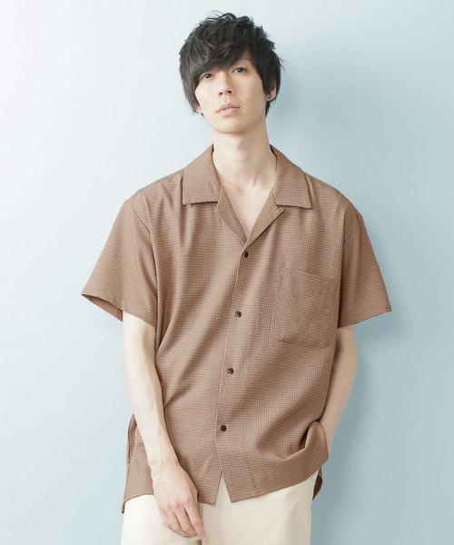 ガンクラブチェックルーズシルエットオープンカラーシャツ(1/2 sleeve)
