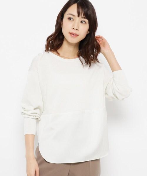 Modify(モディファイ)の「布帛切り替えコットン(綿)混ニット(ニット/セーター)」|ホワイト系