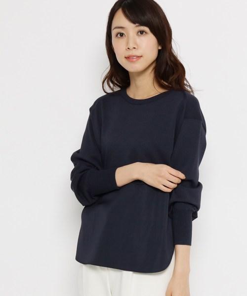 Modify(モディファイ)の「布帛切り替えコットン(綿)混ニット(ニット/セーター)」|ネイビー