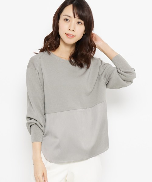 Modify(モディファイ)の「布帛切り替えコットン(綿)混ニット(ニット/セーター)」|グレー