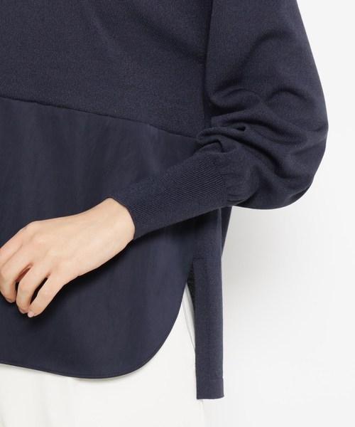 Modify(モディファイ)の「布帛切り替えコットン(綿)混ニット(ニット/セーター)」|詳細画像