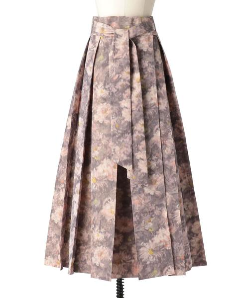 Drawer フラワープリントラップリボンスカート