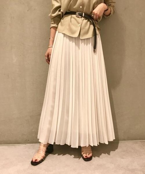 ROPE' mademoiselle(ロペマドモアゼル)の「【ドラマ着用】プリーツロングスカート(スカート)」 ホワイト