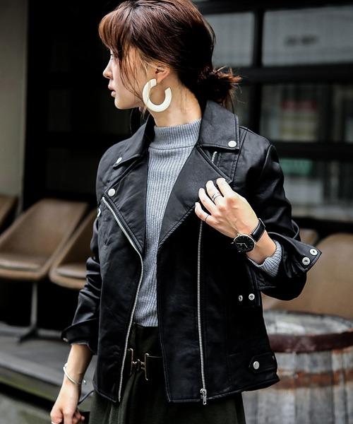 Fashion Letter(ファッションレター)の「レザー ダブルライダースジャケット ライトアウター(ライダースジャケット)」|ブラック