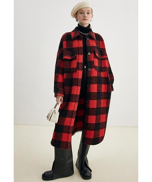【Fano Studios】【2021AW】Wool blend plaid shirt coat FD21W127
