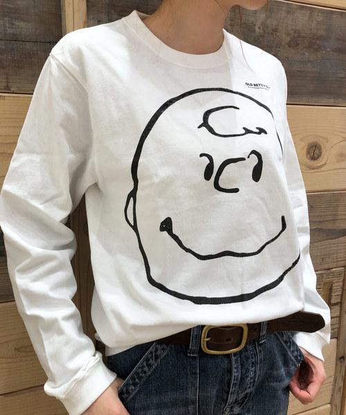 SNOOPY×OLD BETTY'S(スヌーピーカケルオールドベティーズ)の「SNOOPY Long Sleeve T-shirts/スヌーピー ロング Tシャツ ロンT(Tシャツ/カットソー)」 ホワイト系その他