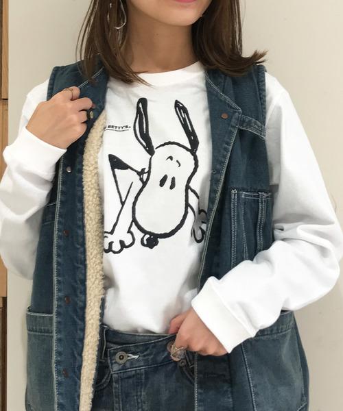SNOOPY×OLD BETTY'S(スヌーピーカケルオールドベティーズ)の「SNOOPY Long Sleeve T-shirts/スヌーピー ロング Tシャツ ロンT(Tシャツ/カットソー)」|ホワイト系その他4