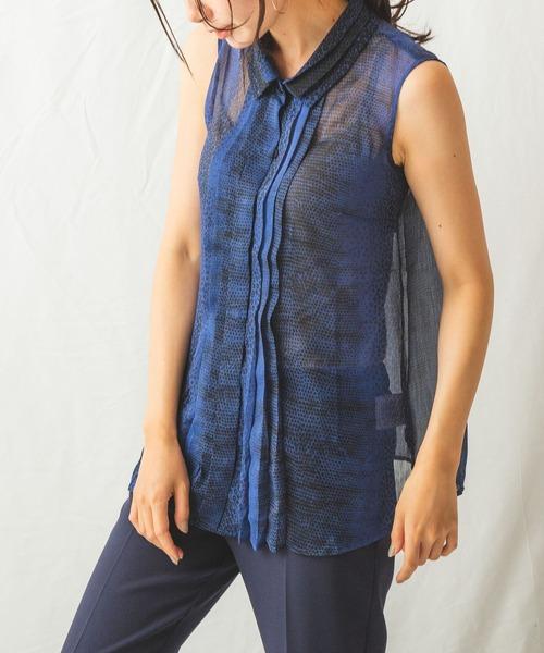 NARACAMICIE(ナラカミーチェ)の「リザードミックスプリントプリーツノースリーブシャツ(シャツ/ブラウス)」|ブルー