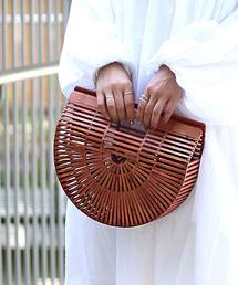Bou Jeloud(ブージュルード)の【数量限定】バンブー素材 半月型 かごバッグ(かごバッグ)