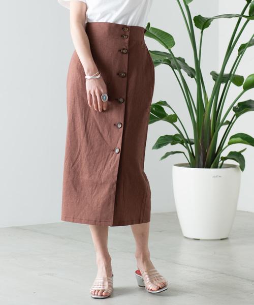 WEGO(ウィゴー)の「WEGO/リネンブレンドボタンナロースカート(スカート)」|ブラウン