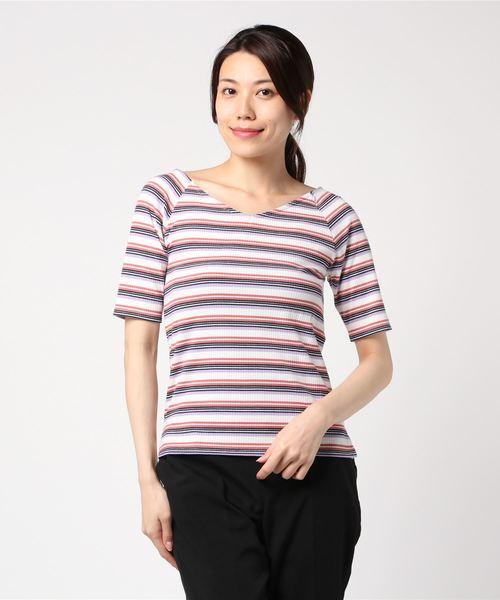 MEW'S REFINED CLOTHES(ミューズリファインドクローズ)の「前後2WAYリブカットソー(Tシャツ/カットソー)」|ラベンダー