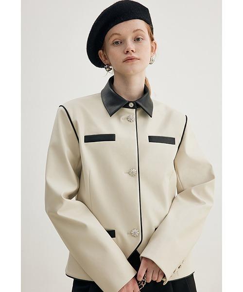 【Fano Studios】【2021AW】Diamond button leather jacket FD21W087