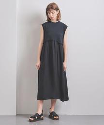 <OSHIMA REI(おおしま れい)>ウエスト ギャザー ワンピース BLACK■■■†