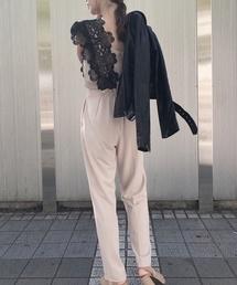 SNIDEL(スナイデル)のレースディテールロンパース/【結婚式にもおすすめ】(つなぎ/オールインワン)