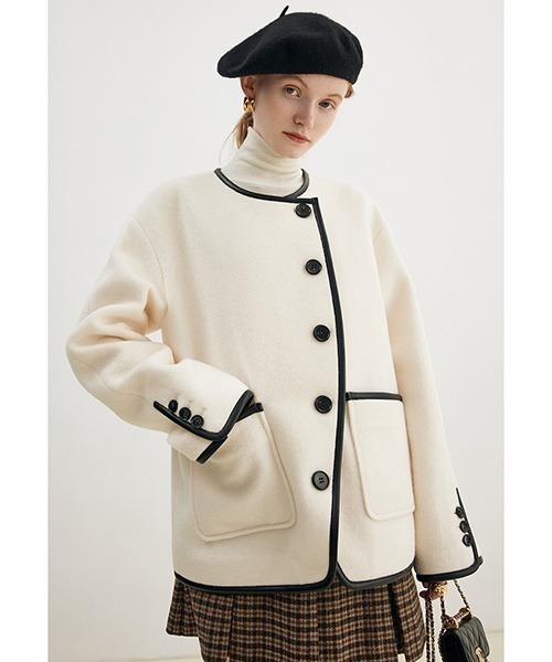 【Fano Studios】【2021AW】Contrasting no collar jacket FD21W036