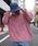 rovtski(ロフトスキー)の「rovtski 【ビッグシルエット】ミニ裏毛パウダーブリーチBIGトレーナーF(スウェット)」 ピンク