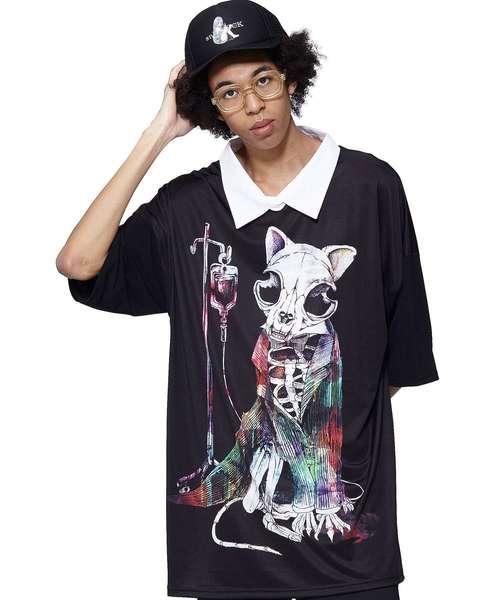 ankoROCKホラーナイトガイコツネコシャツ襟Tシャツ -メガビッグ-