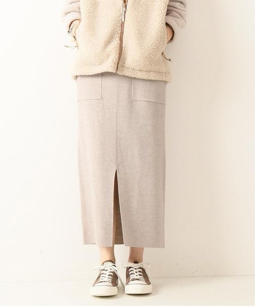 Spick & Span(スピックアンドスパン)の「スムースポケットタイトスカート◆(スカート)」|ベージュ