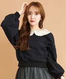 サテンカラー裏毛トップス/ボリューム袖ブラック
