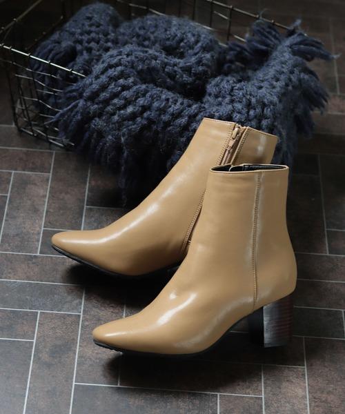 SESTO(セスト)の「リアルウッドヒールのスクエアトゥミドル丈ブーツ/ショートブーツ(ブーツ)」|ベージュ