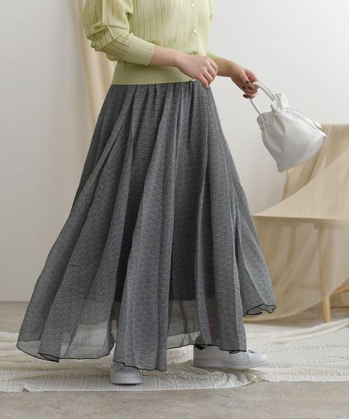 シフォンボリュームプリントスカート