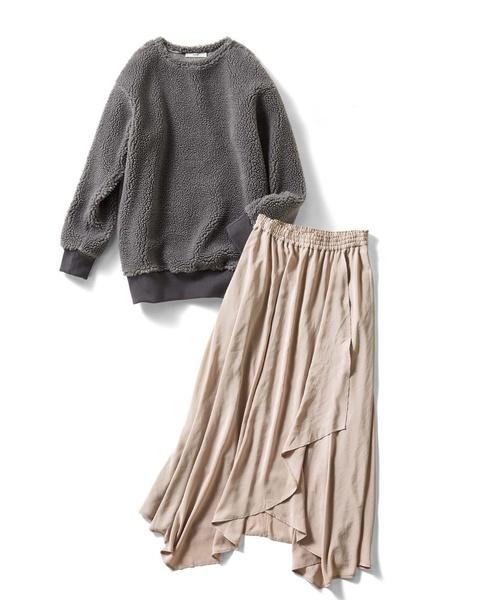 IEDIT シープボアのロングトップス&イレギュラーヘムのスカートセット