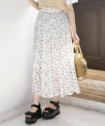 Heather(ヘザー)のシフォンハナガラプリーツスカート 833121(スカート)