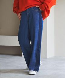 【WEB限定サイズ(XL)】■プレミアムデニムコレクション■サイドシャドウデニムワイドパンツ