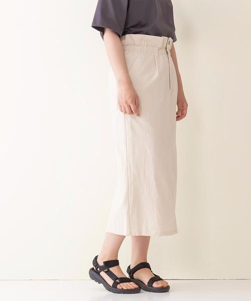 リネン風ストレッチバックスリットナロースカート