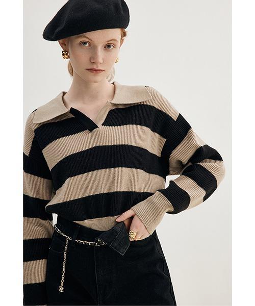 【Fano Studios】【2021AW】Polo collar wool yarn stripe sweater FD21S072