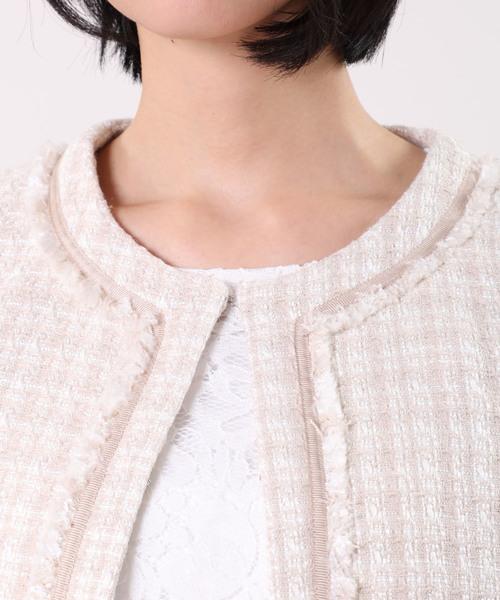 【入学式・卒業式・七五三】ノーカラーツイードジャケット