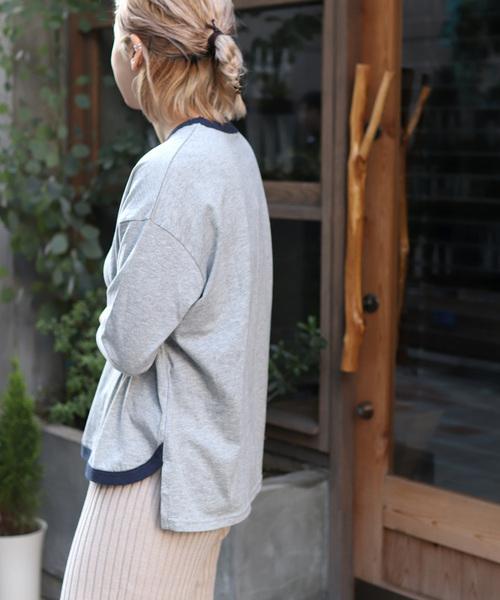harmonie -OrganicCotton-(アルモニ オーガニックコットン) ふんわり裾ラウンド配色7分袖