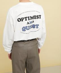 ビッグシルエット コットン天竺イラストデザインL/Sカットソー(EMMA CLOTHES - OPTIMIST AND QUEST)ホワイト